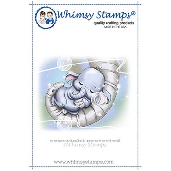 Whimsy Stamps BABY ELLIE CUDDLES Rubber Cling Stamp C1337