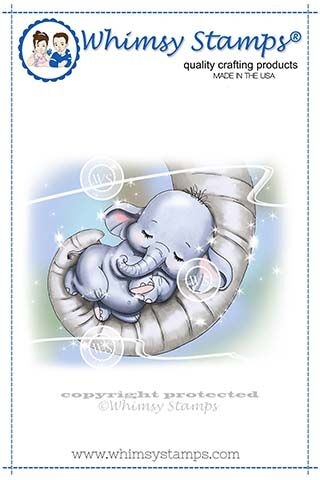 Whimsy Stamps BABY ELLIE CUDDLES Rubber Cling Stamp C1337 zoom image