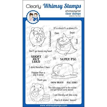 Whimsy Stamps PIG PUNS 2 Clear Stamps CWSD269