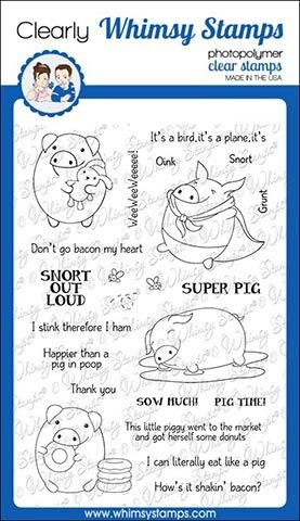 Whimsy Stamps PIG PUNS 2 Clear Stamps CWSD269 zoom image