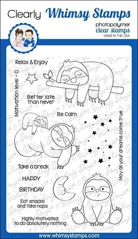 Whimsy Stamps SLEEPY SLOTHS Clear Stamps CWSD272 zoom image