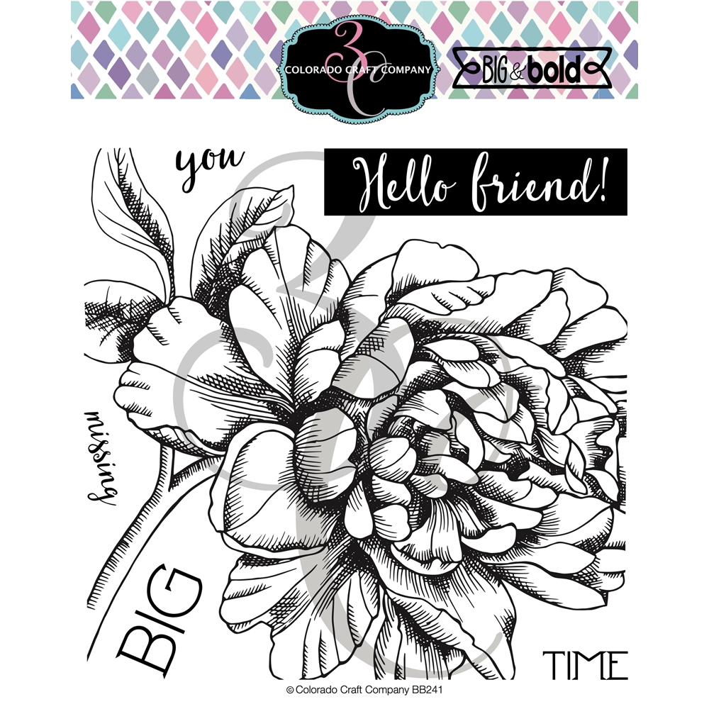 Colorado Craft Company Big and Bold MISSING YOU PEONY Clear Stamps BB241 zoom image