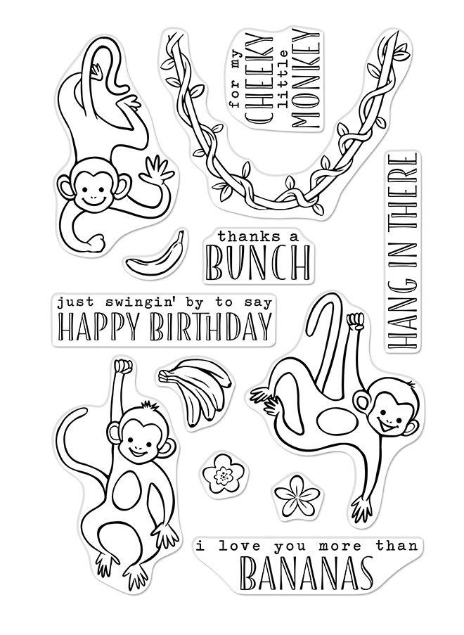 Hero Arts Clear Stamps THANKS A BUNCH MONKEYS CM368 zoom image
