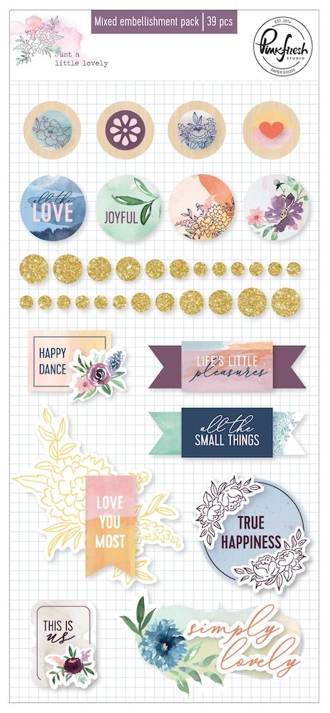 Pinkfresh Studio JUST A LITTLE LOVELY Mixed Embellishment Pack pfrc500519 zoom image