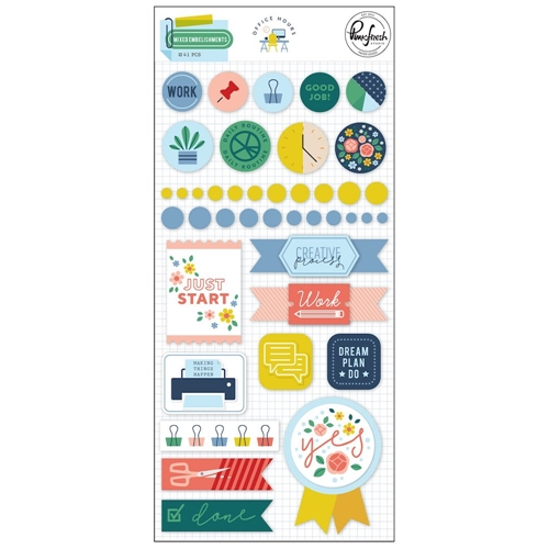 Pinkfresh Studio OFFICE HOURS Mixed Embellishment Pack pfrc400619 Preview Image