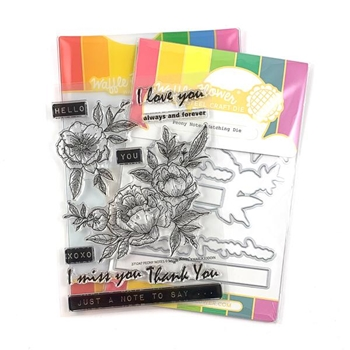 Waffle Flower PEONY NOTES Clear Stamp and Die Combo WFC247