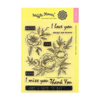 Waffle Flower PEONY NOTES Clear Stamps 271247