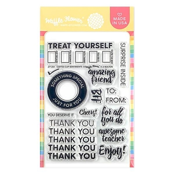 Waffle Flower COFFEE CUP SENTIMENTS Clear Stamps 271251