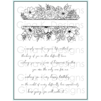 Gina K Designs WHIMSICAL FLOWER FRAME Clear Stamps 1272