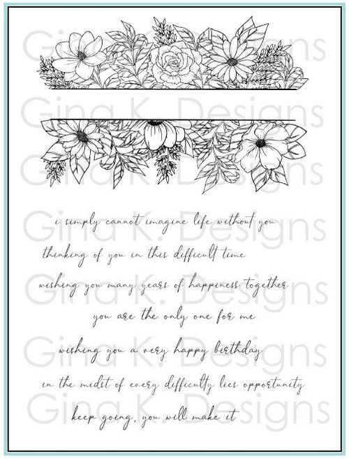 Gina K Designs WHIMSICAL FLOWER FRAME Clear Stamps 1272 zoom image