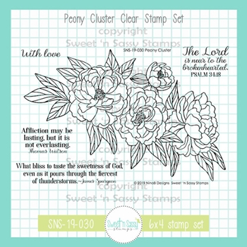 Sweet 'N Sassy PEONY CLUSTER Clear Stamp Set nb-sns-19-030