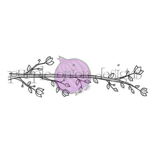 Purple Onion Designs BLOSSOMING PERCH Cling Stamp pod1058 Preview Image