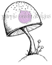 Purple Onion Designs TOADSTOOL Cling Stamp pod1059*