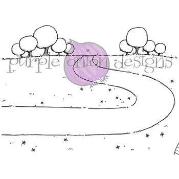 Purple Onion Designs COUNTRY ROAD Cling Stamp pod1071