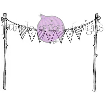Purple Onion Designs BUNTING FLAGS Cling Stamp pod1077