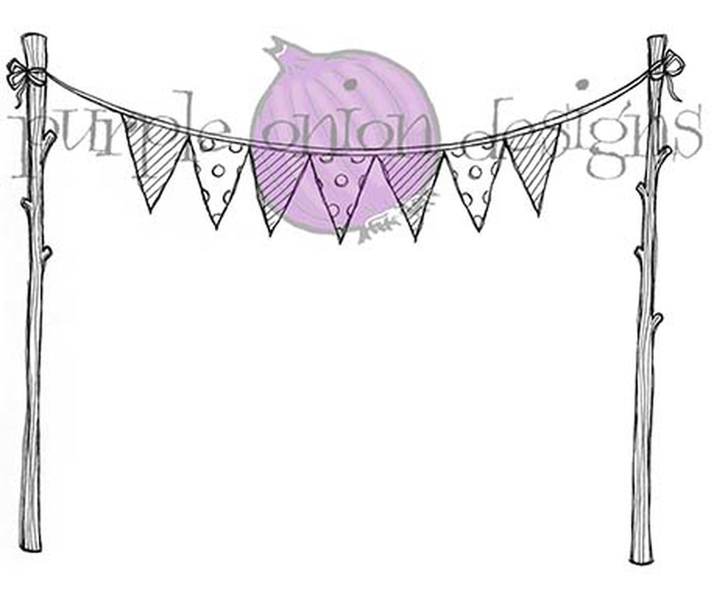 Purple Onion Designs BUNTING FLAGS Cling Stamp pod1077 zoom image