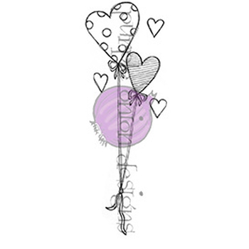 Purple Onion Designs HEART BALLOONS Cling Stamp pod1081