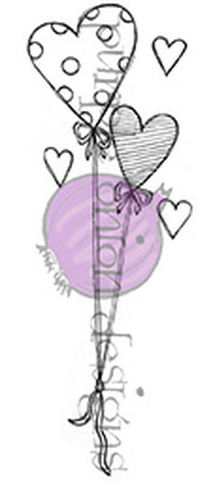 Purple Onion Designs HEART BALLOONS Cling Stamp pod1081 zoom image