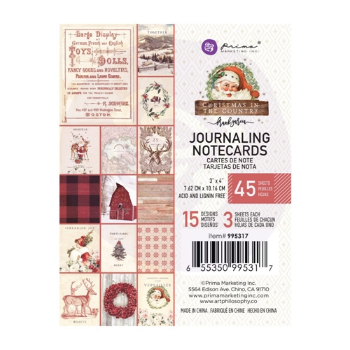 Prima Marketing CHRISTMAS IN THE COUNTRY 3 X 4 Journaling Cards Pad 995317 Preview Image