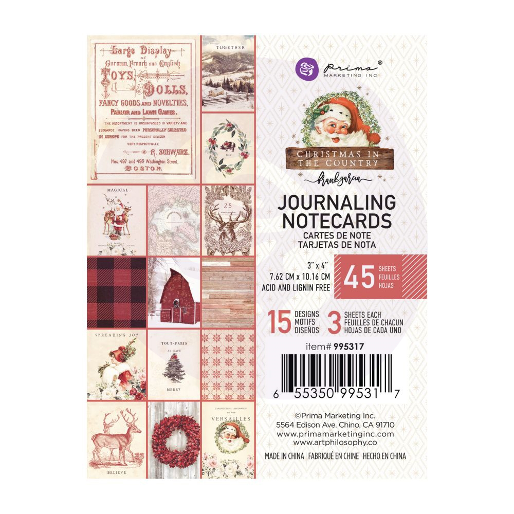 Prima Marketing CHRISTMAS IN THE COUNTRY 3 X 4 Journaling Cards Pad 995317 zoom image