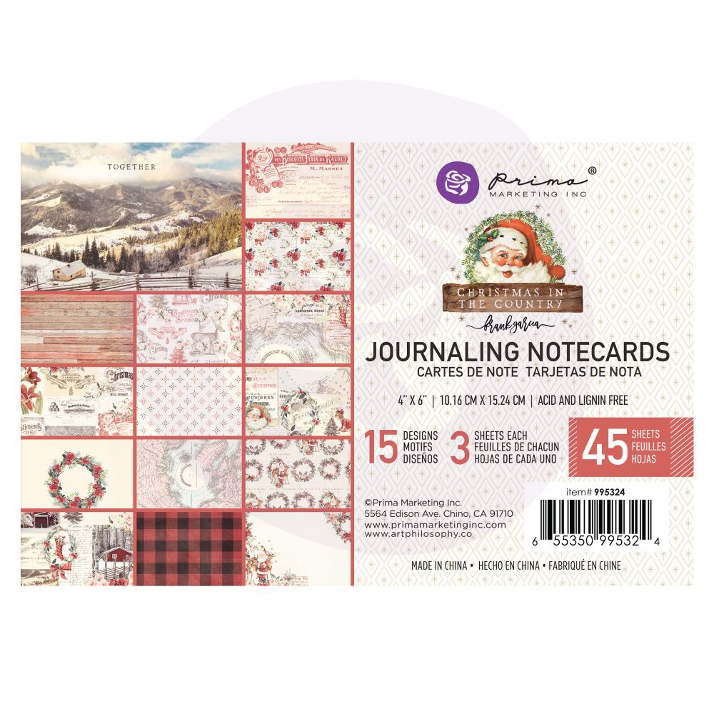 Prima Marketing CHRISTMAS IN THE COUNTRY 4 X 6 Journaling Cards Pad 995324 zoom image