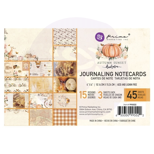 Prima Marketing AUTUMN SUNSET 4 X 6 Journaling Cards Pad 995522 Preview Image