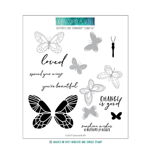 Concord & 9th BUTTERFLY LOVE TURNABOUT Clear Stamp Set 10623 Preview Image