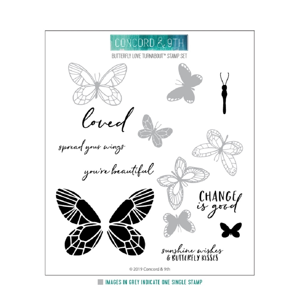 Concord & 9th BUTTERFLY LOVE TURNABOUT Clear Stamp Set 10623 zoom image