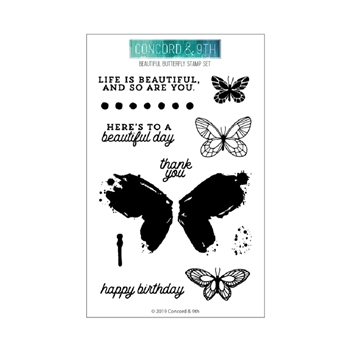 Concord & 9th BEAUTIFUL BUTTERFLY Clear Stamp Set 10620