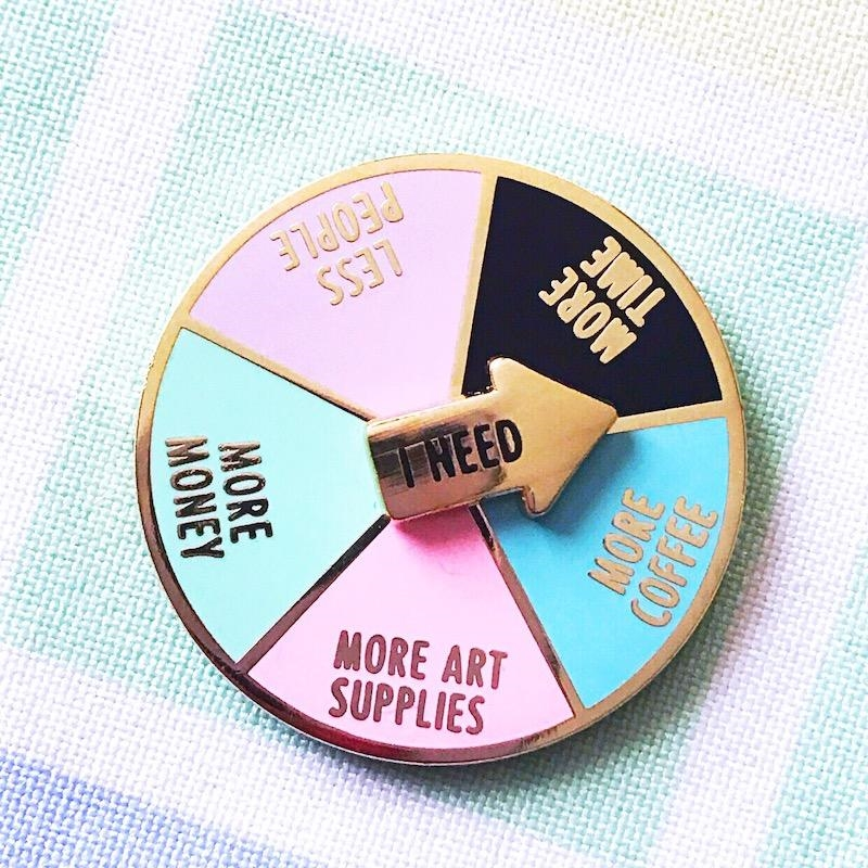 The Gray Muse I NEED COFFEE AND ART SPINNER Enamel Pin tgm-j19-p29* zoom image