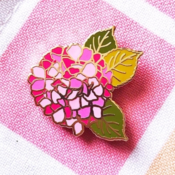 The Gray Muse PINK HYDRANGEA Enamel Pin tgm-j19-p31