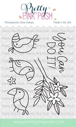 Pretty Pink Posh TROPICAL TOUCANS Clear Stamps Preview Image