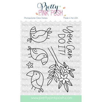 Pretty Pink Posh TROPICAL TOUCANS Clear Stamps