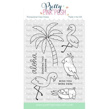 Pretty Pink Posh TROPICAL BIRDS Clear Stamps