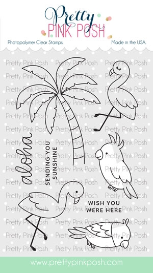 Pretty Pink Posh TROPICAL BIRDS Clear Stamps zoom image