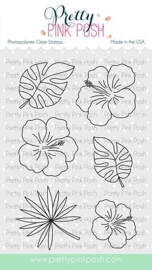 Pretty Pink Posh HIBISCUS FLOWERS Clear Stamps zoom image