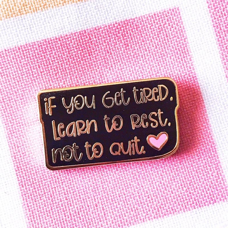 The Gray Muse LEARN TO REST Enamel Pin tgm-j19-p22 zoom image