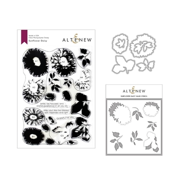 Altenew SUNFLOWER DAISY Clear Stamp, Die and Stencil Bundle ALT3339