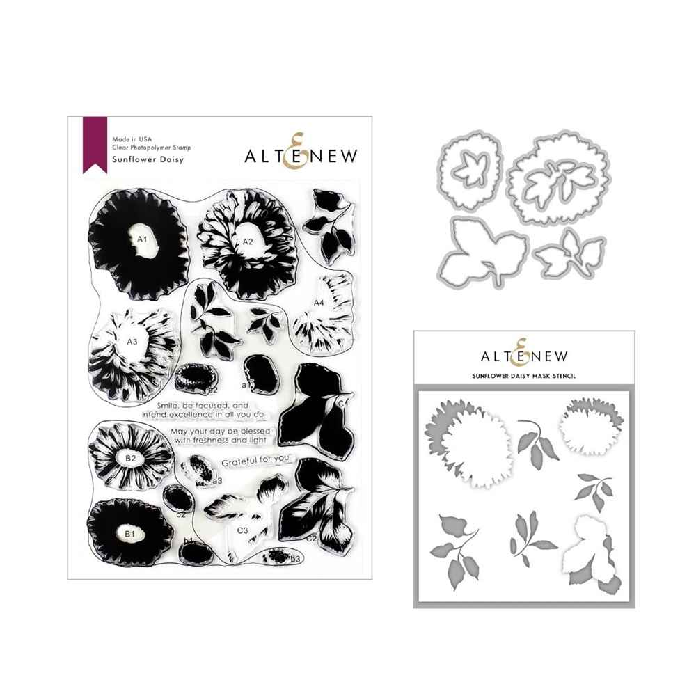 Altenew SUNFLOWER DAISY Clear Stamp, Die and Stencil Bundle ALT3339 zoom image