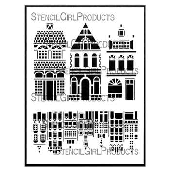 StencilGirl FANCY HOUSE MIXIE 9x12 Stencil l728