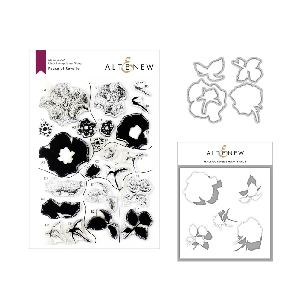 Altenew PEACEFUL REVERIE Clear Stamp, Die and Stencil Bundle ALT3332 zoom image