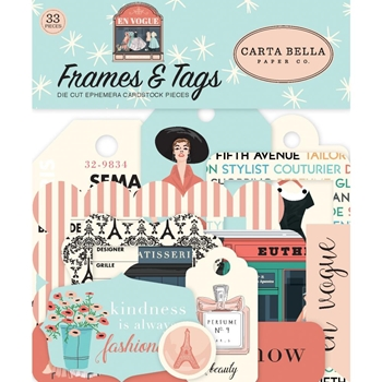 Carta Bella EN VOGUE Frames And Tags Ephemera cbev103025