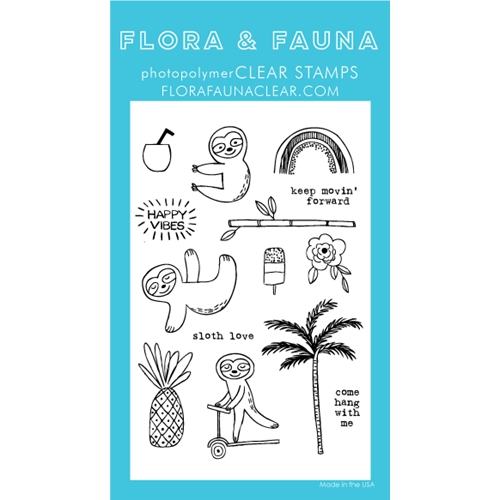 Flora and Fauna SUMMER SLOTH Clear Stamps 20249 Preview Image