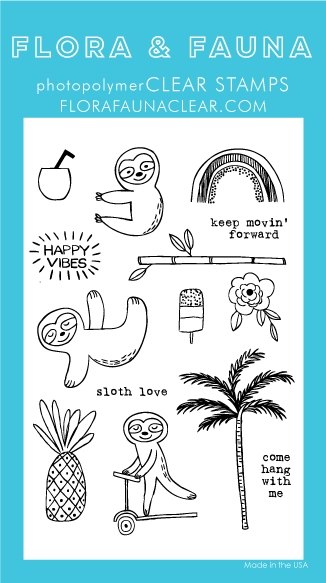 Flora and Fauna SUMMER SLOTH Clear Stamps 20249 zoom image