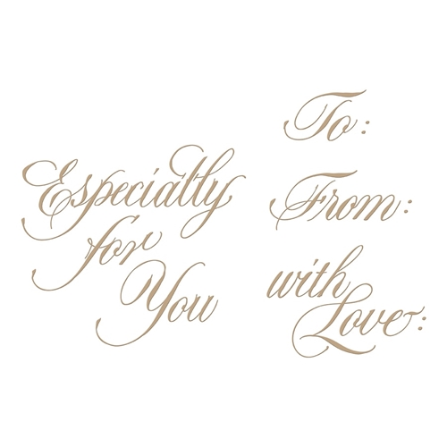 GLP-089 Spellbinders COPPERPLATE SCRIPT GIFT TAG SENTIMENTS  Glimmer Hot Foil Plates Preview Image