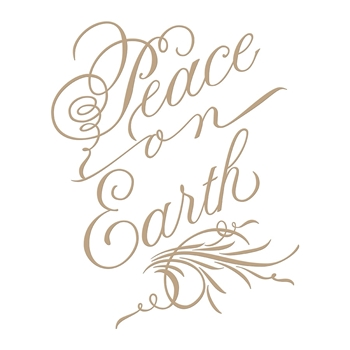 GLP-082 Spellbinders COPPERPLATE SCRIPT PEACE ON EARTH Glimmer Hot Foil Plates