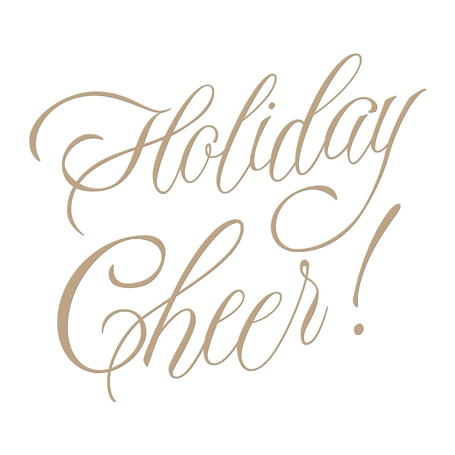 GLP-065 Spellbinders FAUX SCRIPT HOLIDAY CHEER Glimmer Hot Foil Plates zoom image