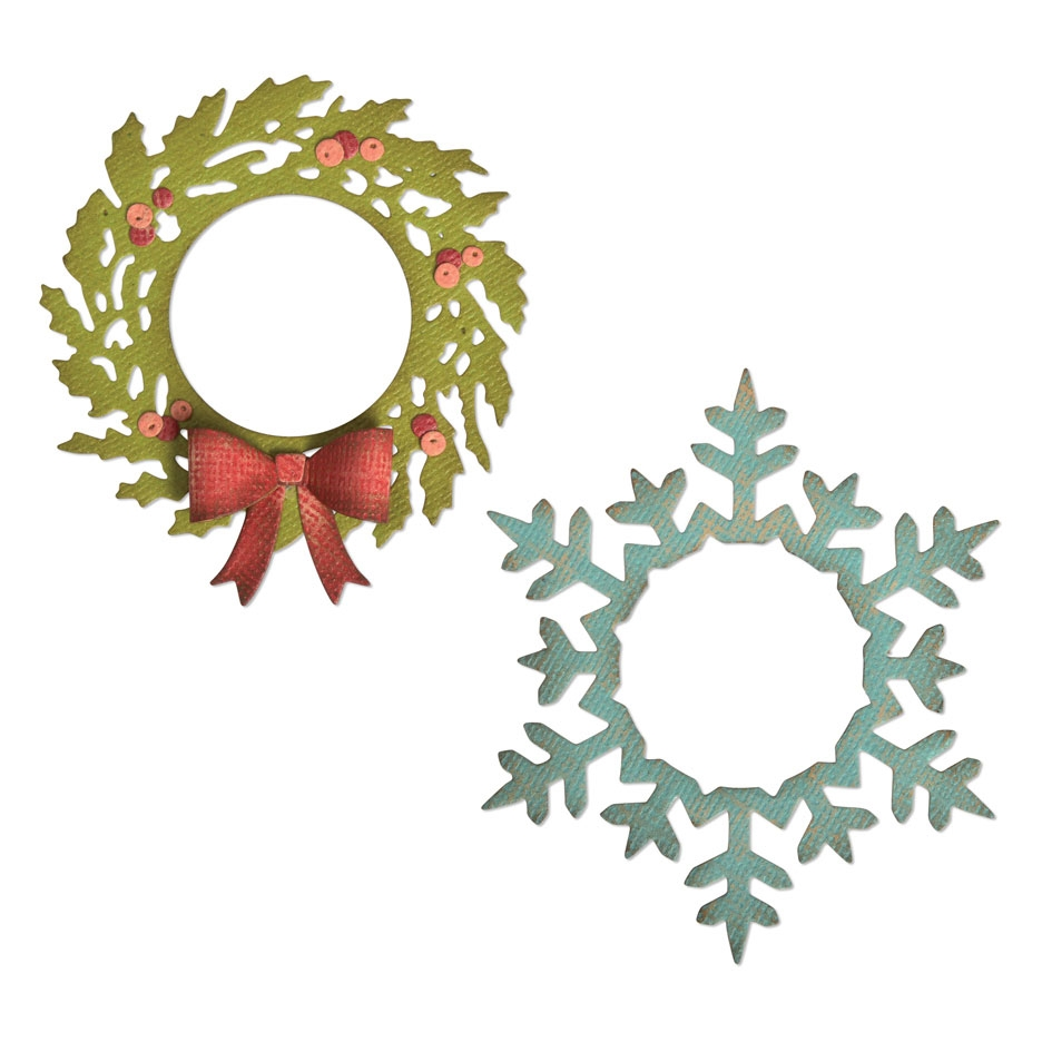 Tim Holtz Sizzix WREATH AND SNOWFLAKE Thinlits Dies 664210 zoom image