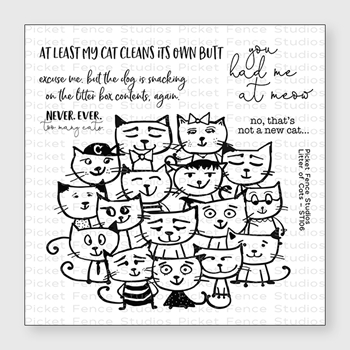 Picket Fence Studios LITTER OF CATS Clear Stamp Set st106