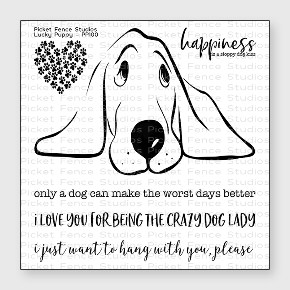 Picket Fence Studios LUCKY PUPPY Clear Stamp Set pp100 zoom image